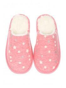 Womens Pink Closed Toe Spa Slippers
