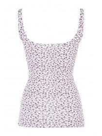 Womens White Ditsy Printed Vest