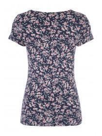 Womens Dark Blue Floral Print Crew T-Shirt