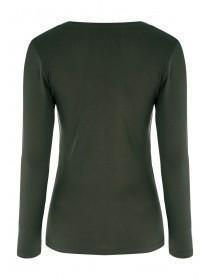 Womens Dark Green Long Sleeve Top
