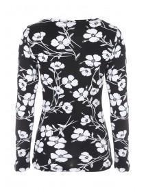 Womens Monochrome Floral Top