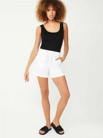 Womens White Linen Shorts