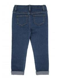 Younger Girls Blue Embroidered Jeans