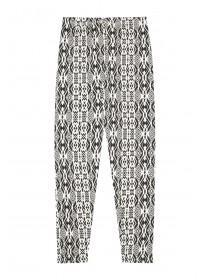 Younger Girls Black Aztec Leggings
