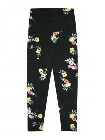 Younger Girls Black Floral Leggings