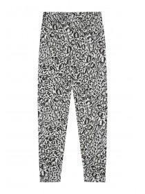 Younger Girls Grey Leopard Leggings