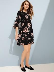 Womens Black Floral Woven Shift Dress