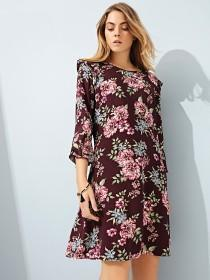 Womens Purple Floral Shift Dress