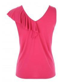 Womens Pink Frilled Shoulder Vest