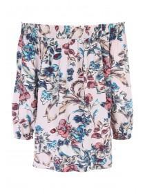 Womens Cream Floral Long Sleeved Bardot Top