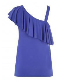 Womens Blue One Shoulder Frill Vest