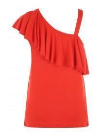Womens Red One Shoulder Frill Vest