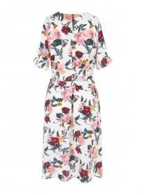 Womens Floral Wrap Midi Dress
