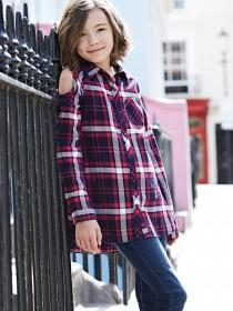 Older Girls Blue Cold Shoulder Check Shirt