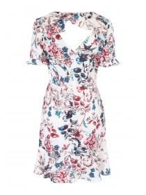 Womens Floral Ruffle Tea Dress