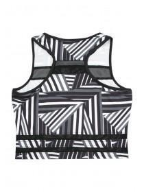 Older Girls Black Geometric Mesh Active Crop Top