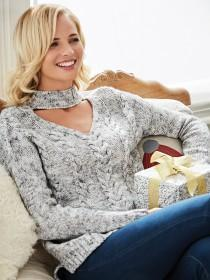 Womens Grey Choker Neck Jumper