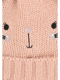 Baby Girls Pink Double Pom Hat