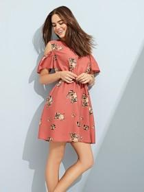Womens Peach Floral Woven Dress