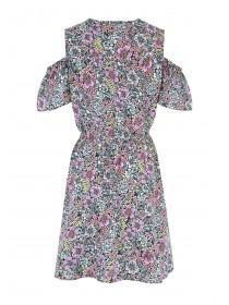 Womens Black Floral Woven Dress