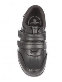 Older Boys Black Back To School Velcro Shoes