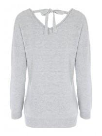Womens Grey Stud Detail Jumper