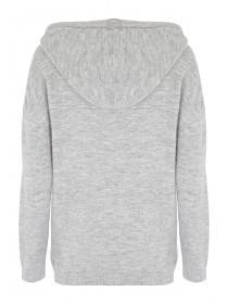 Womens Grey Knitted Hooded Jumper
