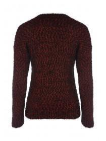 Womens Red Pom Feather Jumper