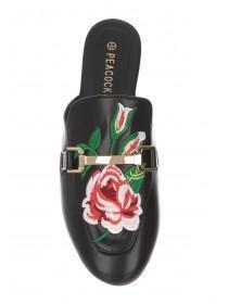 Womens Black Embroidered Mule Loafer Shoe
