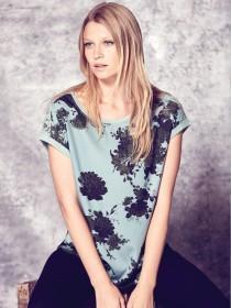 Womens Spearmint Green Woven Front T-Shirt
