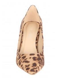 Womens Brown Leopard Print Pointed Court Heels
