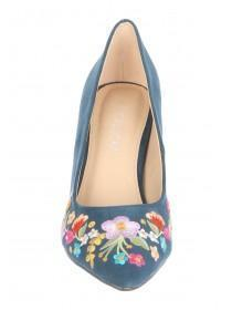 Womens Teal Embroidered Court Heels