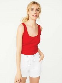 Womens Red Rib Vest Top