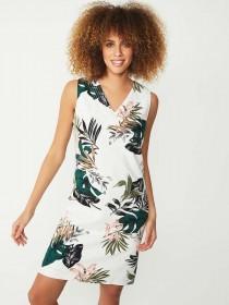 Womens Cream Tropical Print Dress