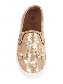 Younger Girls Gold Applique Butterfly Skater Shoe
