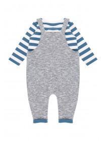Baby Boys Grey Monster Dungaree Set