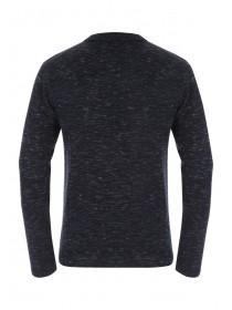 Mens Navy Knitted Polo Top