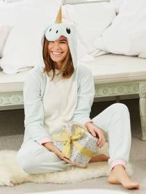 Womens Aqua Unicorn Onesie