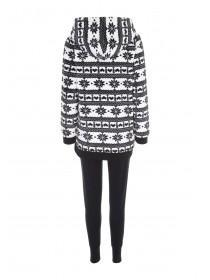 Womens Black Fairisle Sherpa Pyjama Set