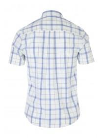 Mens Light Blue Short Sleeve Check Shirt