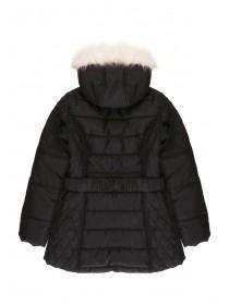 Older Girls Black Quilted Fur Trim Coat
