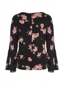 Womens Floral Fluted Sleeve Top