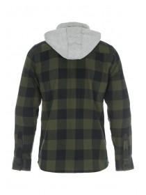 Mens Green Check Hooded Shirt