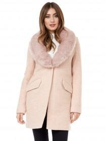 Jane Norman Pale Pink Faux Fur Coat