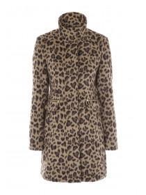 Jane Norman Leopard Print Funnel Neck Coat