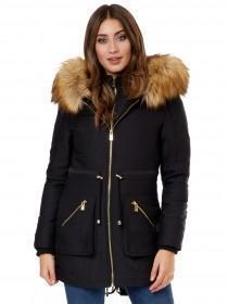 Jane Norman Black Double Zip Fur Hood Parka
