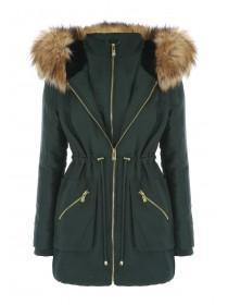 Jane Norman Khaki Double Zip Fur Hood Parka Coat