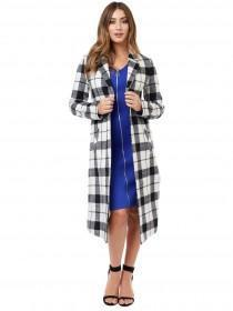 Jane Norman Monochrome Check Long Line Duster Coat