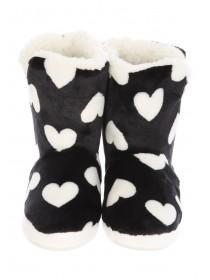 Womens Black Heart Slipper Boots