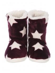 Womens Purple Star Slipper Boots